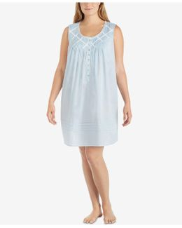 Plus Size Lace-trim Cotton Nightgown