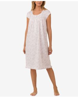 Lace-trimmed Knit Waltz-length Nightgown