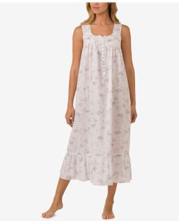 Lace-trimmed Cotton Ballet-length Nightgown