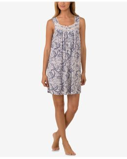 Lace-trimmed Paisley Nightgown