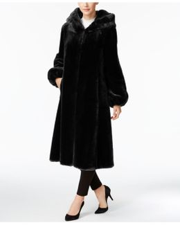 Faux-fur Hooded Maxi Walker Coat