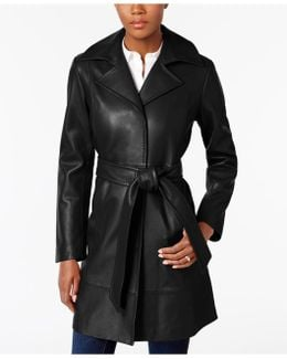 Leather Belted Trench Coat