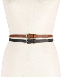 Embossed Flower 2-for-1 Skinny Belts