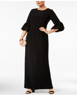 Melania Plus Size Bell-sleeve Gown