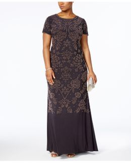 Plus Size Beaded Scoop-back Gown