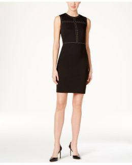 Studded Crepe Sheath Dress