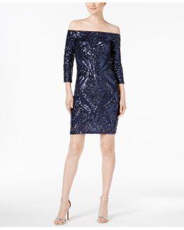 Off-the-shoulder Sequin Sheath Dress