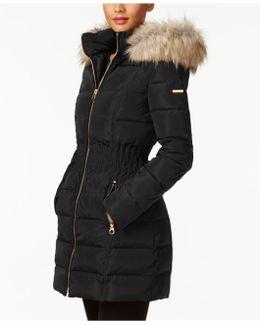 Faux-fur-trim Smocked Down Coat