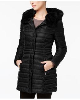 Faux-fur-trim Iridescent Down Coat