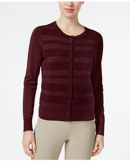 Striped-front Cardigan
