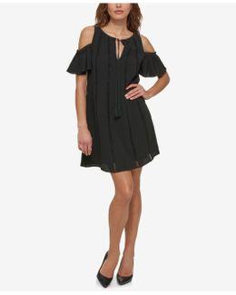 Cold-shoulder Shift Dress With Tassels