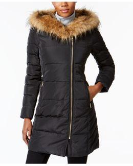 Faux-fur-trim Asymmetrical Puffer Coat