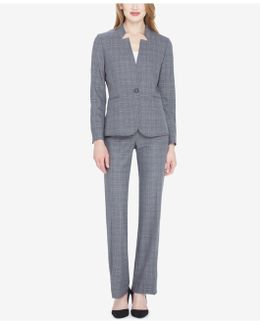 One-button Stand-collar Plaid Pantsuit