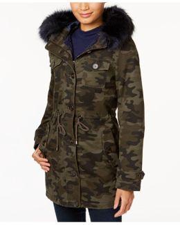 Camo-print Faux-fur-trim Coat