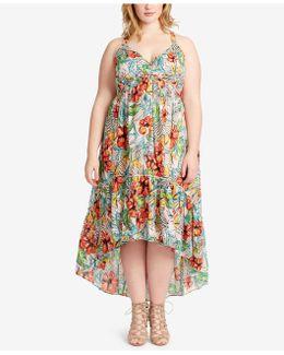Plus Size Printed Flounce-hem Midi Dress
