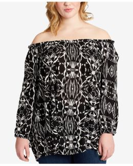 Trendy Plus Size Printed Off-the-shoulder Tunic