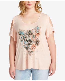 Trendy Plus Size Printed Cold-shoulder T-shirt