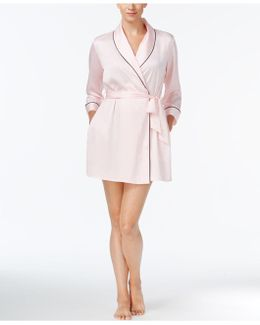 Embroidered-back Satin Wrap Robe