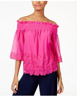 Embroidered Off-the-shoulder Crinkle Top