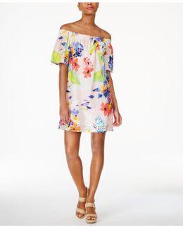 Cotton Off-the-shoulder Shift Dress