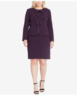 Ruffle-front Zippered Skirt Suit