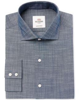 Men's Slim-fit Navy Slub Chambray Dress Shirt