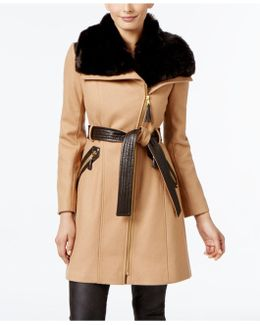 Kate Faux-fur-collar Mixed-media Coat