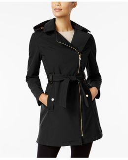 Faux-leather-trim Asymmetrical Coat