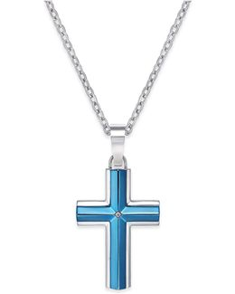 Men's Diamond Accent Cross Pendant Necklace In Stainless Steel Blue Ion-plating
