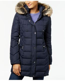 Quilted Faux-fur-trimmed Puffer Coat