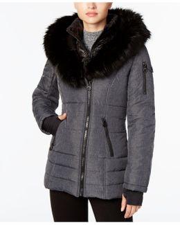 Faux-fur-collar Puffer Coat