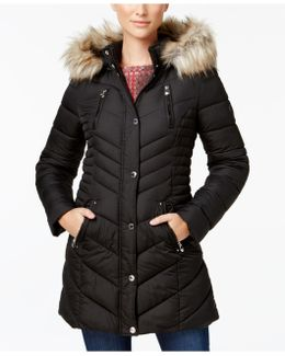 Faux-fur-trim Quilted Puffer Coat