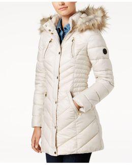 Faux-fur-trim Fleece-lined Puffer Coat