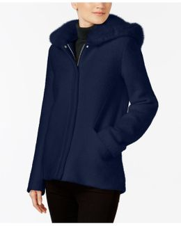 Faux-fur-hood Coat