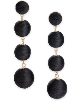 Gold-tone Graduated Thread-wrapped Linear Drop Earrings