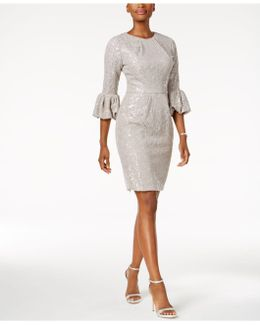 Sequined Lace Bell-sleeve Dress