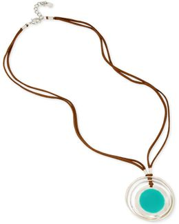 Silver-tone Blue Stone & Faux Leather Pendant Necklace