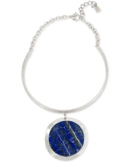 Silver-tone Blue Stone Pendant Collar Necklace