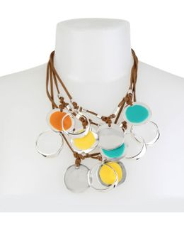 Silver-tone Leather Multi-disk Necklace