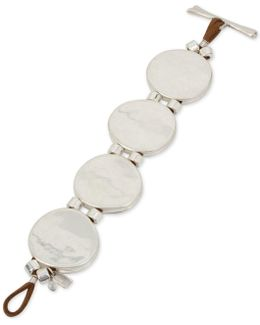 Silver-tone Disk & Faux Leather Flex Bracelet