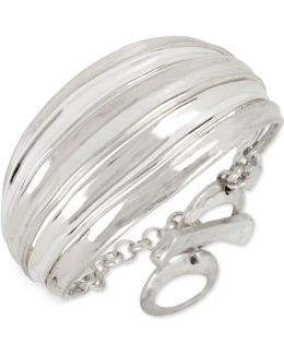 Silver-tone Wide Toggle Bracelet