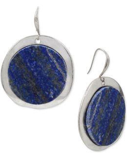 Silver-tone Blue Stone Circular Drop Earrings