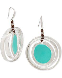 Silver-tone Blue Stone & Faux Leather Drop Earrings