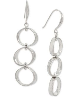 Silver-tone Triple-circle Drop Earrings