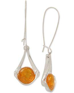 Silver-tone Yellow Stone Drop Earrings