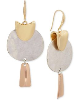 Tri-tone Sculptural Drop Earrings