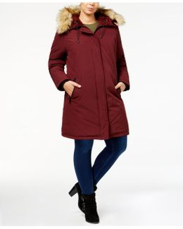 Plus Size Faux-fur-lined Hooded Puffer Coat