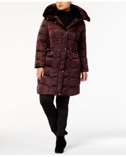 Plus Size Faux-fur-trim Zip-pocket Puffer Coat