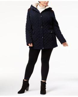 Plus Size Fleece-trim Quilted Coat