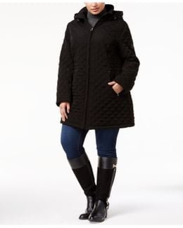 Plus Size Hooded Quilted Coat
